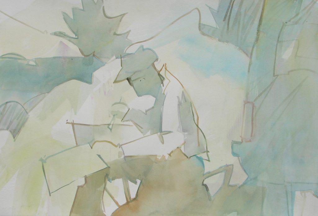 MILFORD ZORNES, original watercolor painting by Woody Hansen