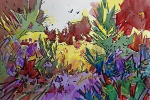 A Joyful Place, Original Woody Hansen Watercolor painting