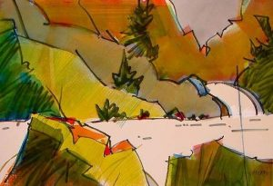 BogusBox Canyon II, Original Woody Hansen Watercolor painting