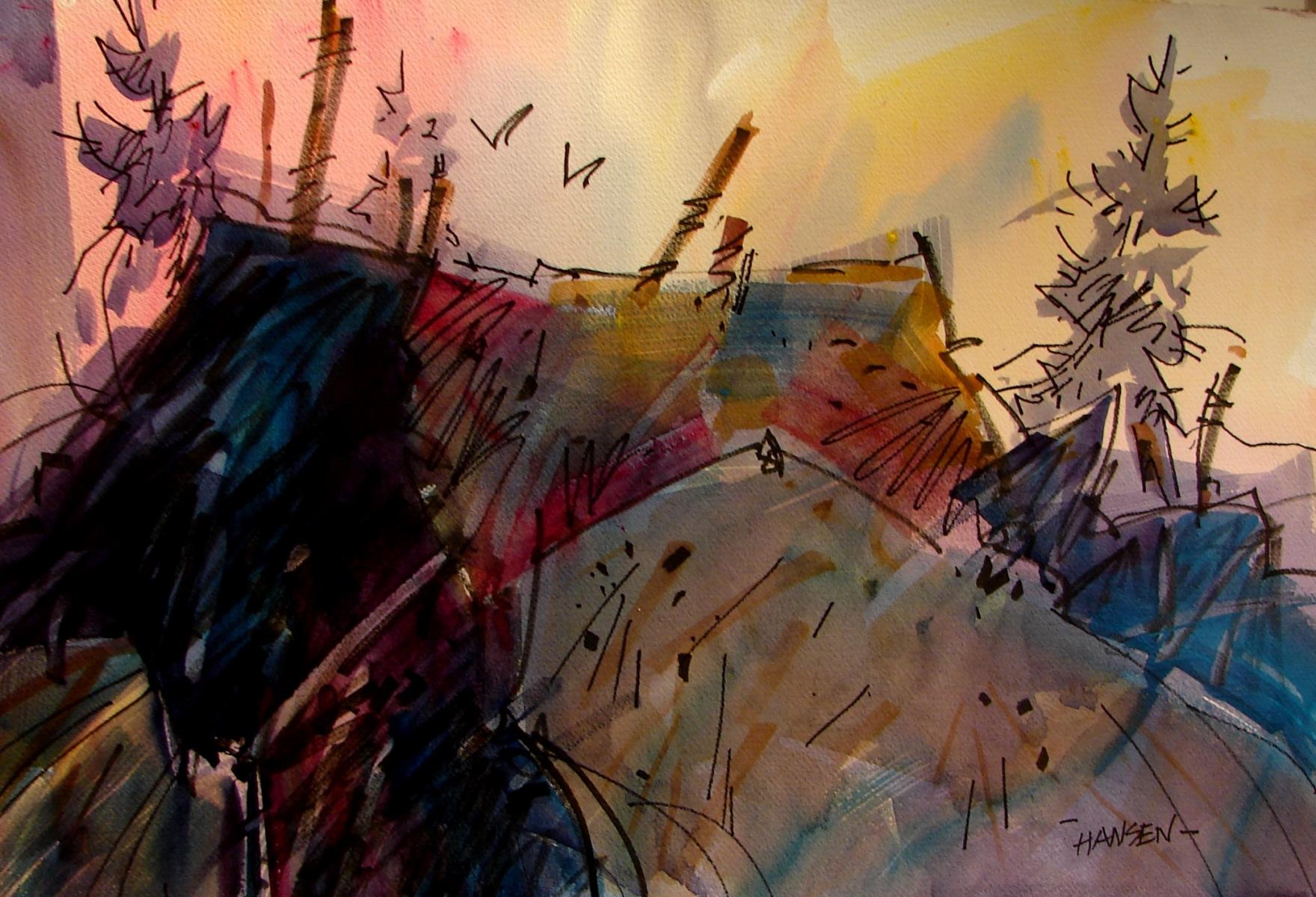 Bridge Remnants, Original Woody Hansen Watercolor painting