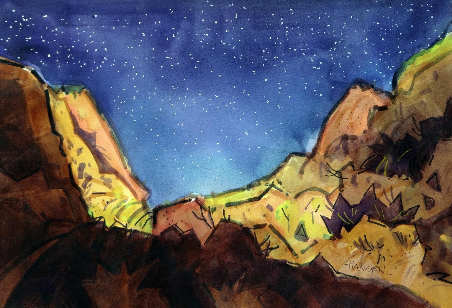 CLEAR SKY, Original Watercolor, 15x22