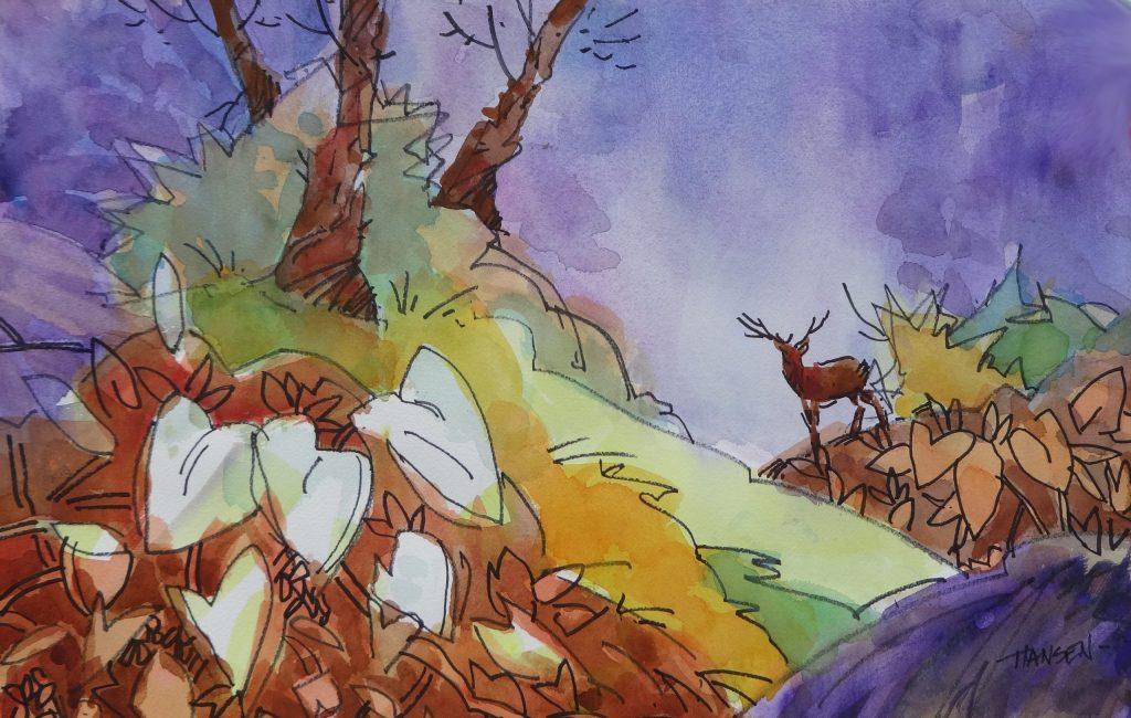 Russet Deer, Original Woody Hansen Watercolor painting