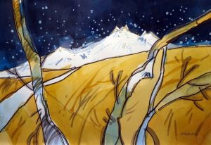 Mt. Shasta Memories Original watercolor painting by Woody Hansen