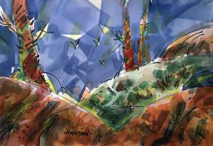 Green Valley, Original watercolor painting by Woody Hansen