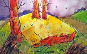 Woody Hansen Watercolor, Broken Branch