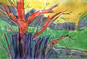Woody Hansen watercolor painting, High Weeds