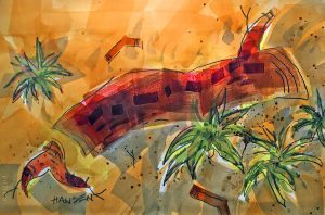 Watercolor Painting, River Branch