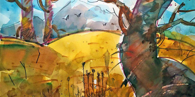 Parkway Twist, Woody Hansen Watercolor, 15x22