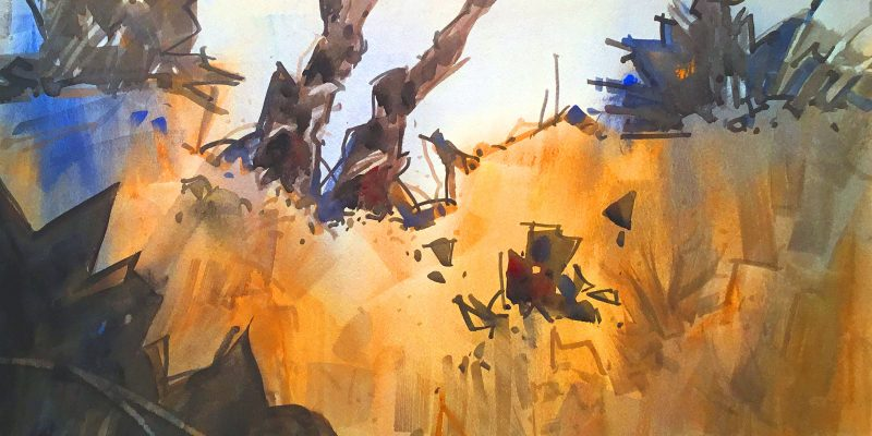 "SUMMER DAZE, 15"" X 22,' by WOODY HANSEN WATERCOLOR"