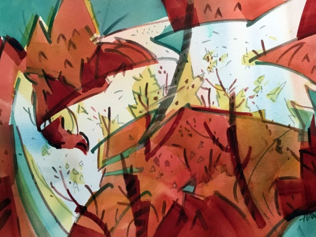 Woody Hansen watercolor , Autumn Leaves