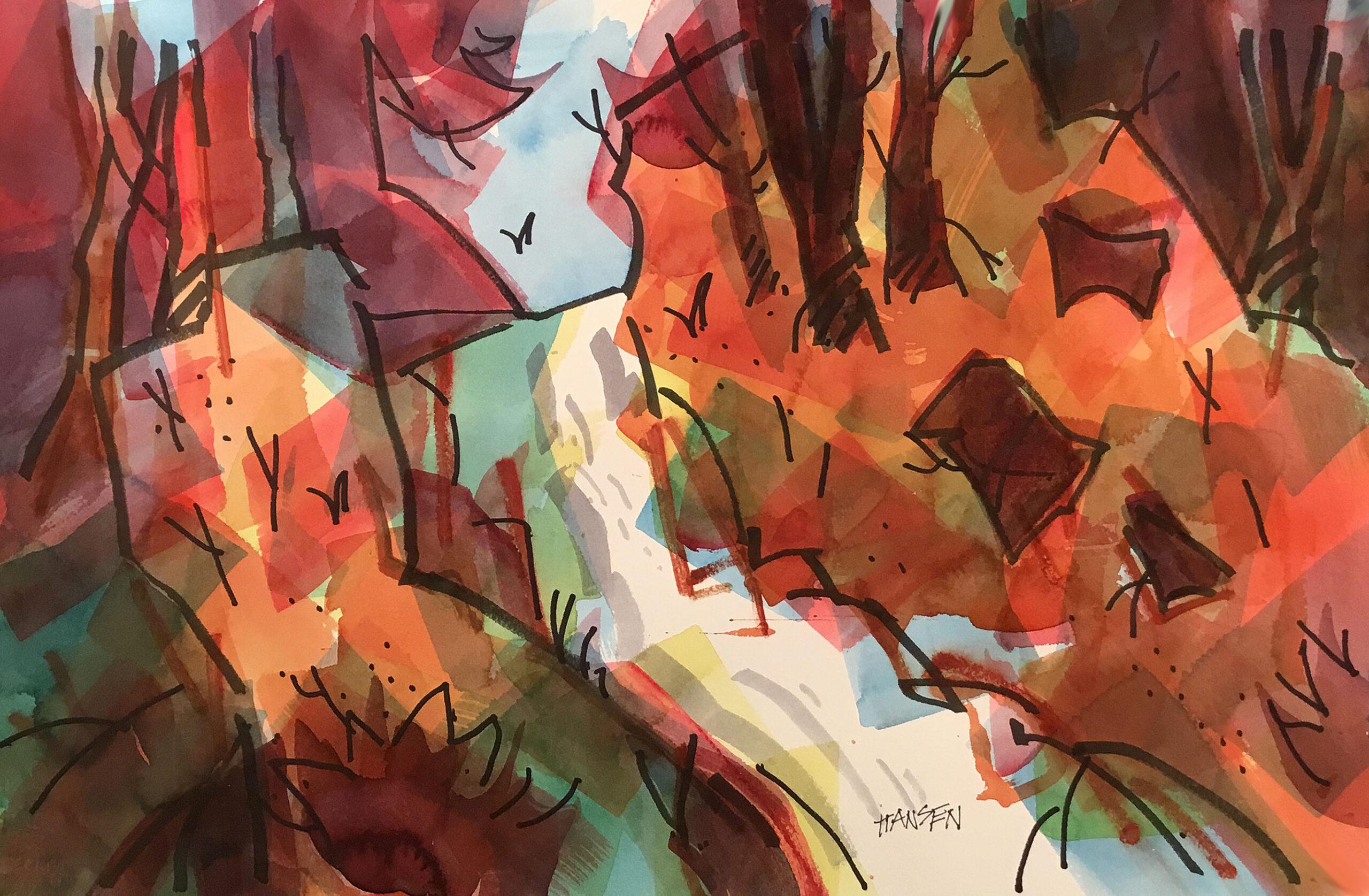 Woody Hansen Watercolor, 15x22, Fall-Falls