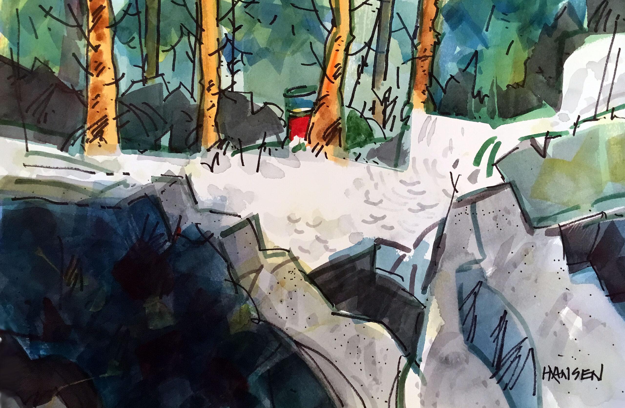 Woody Hansen Watercolor, 15x22, Fish Haven