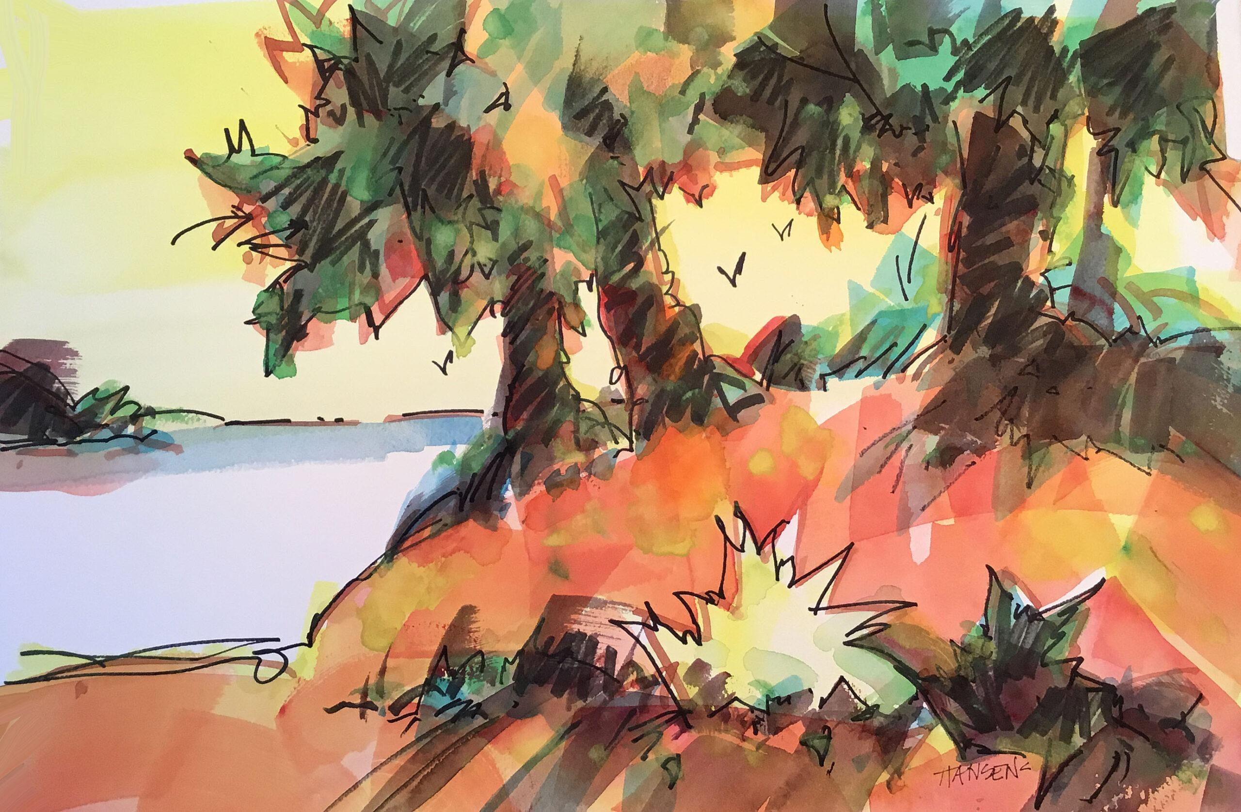 Woody Hansen Watercolor, 15x22, Island Summer