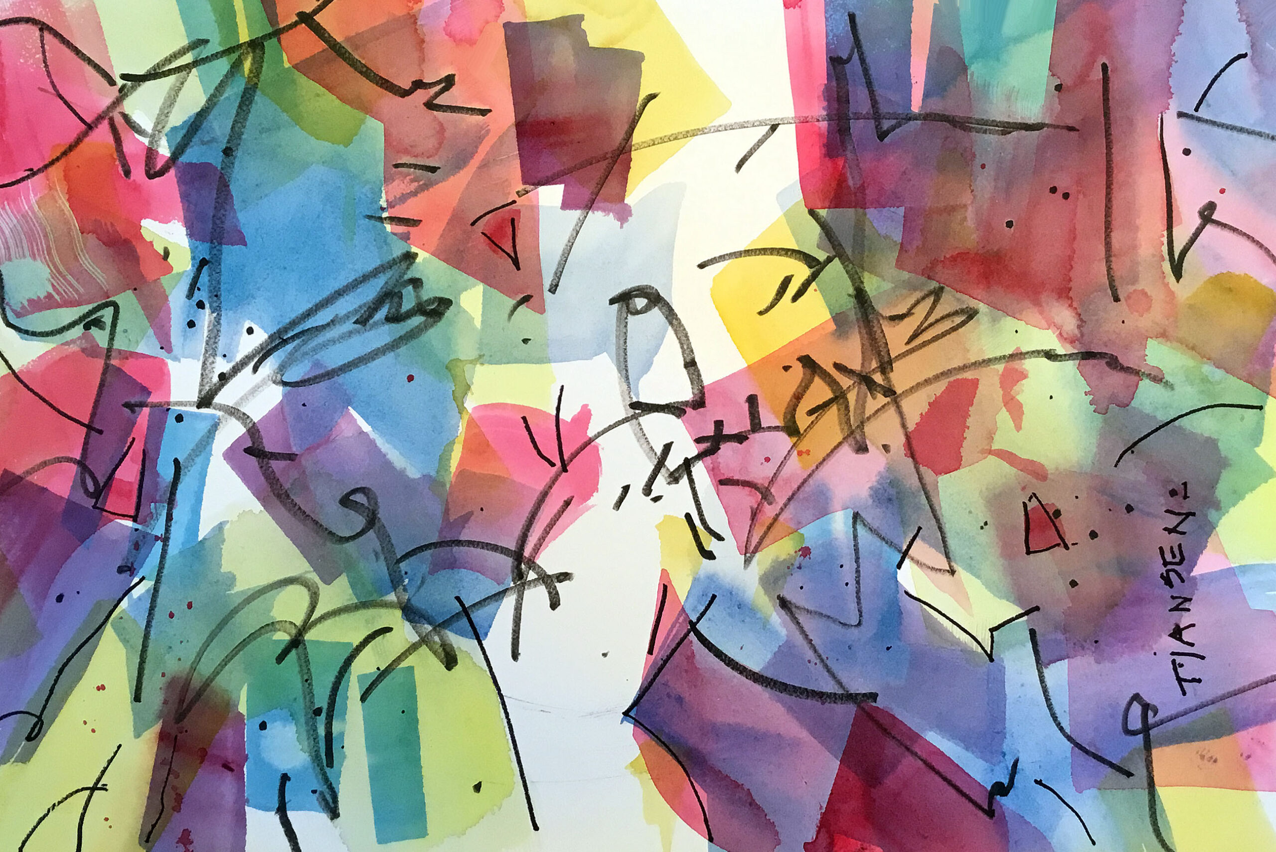 Woody Hansen Watercolor, 15x22, Manipulated Freedom, 15x22