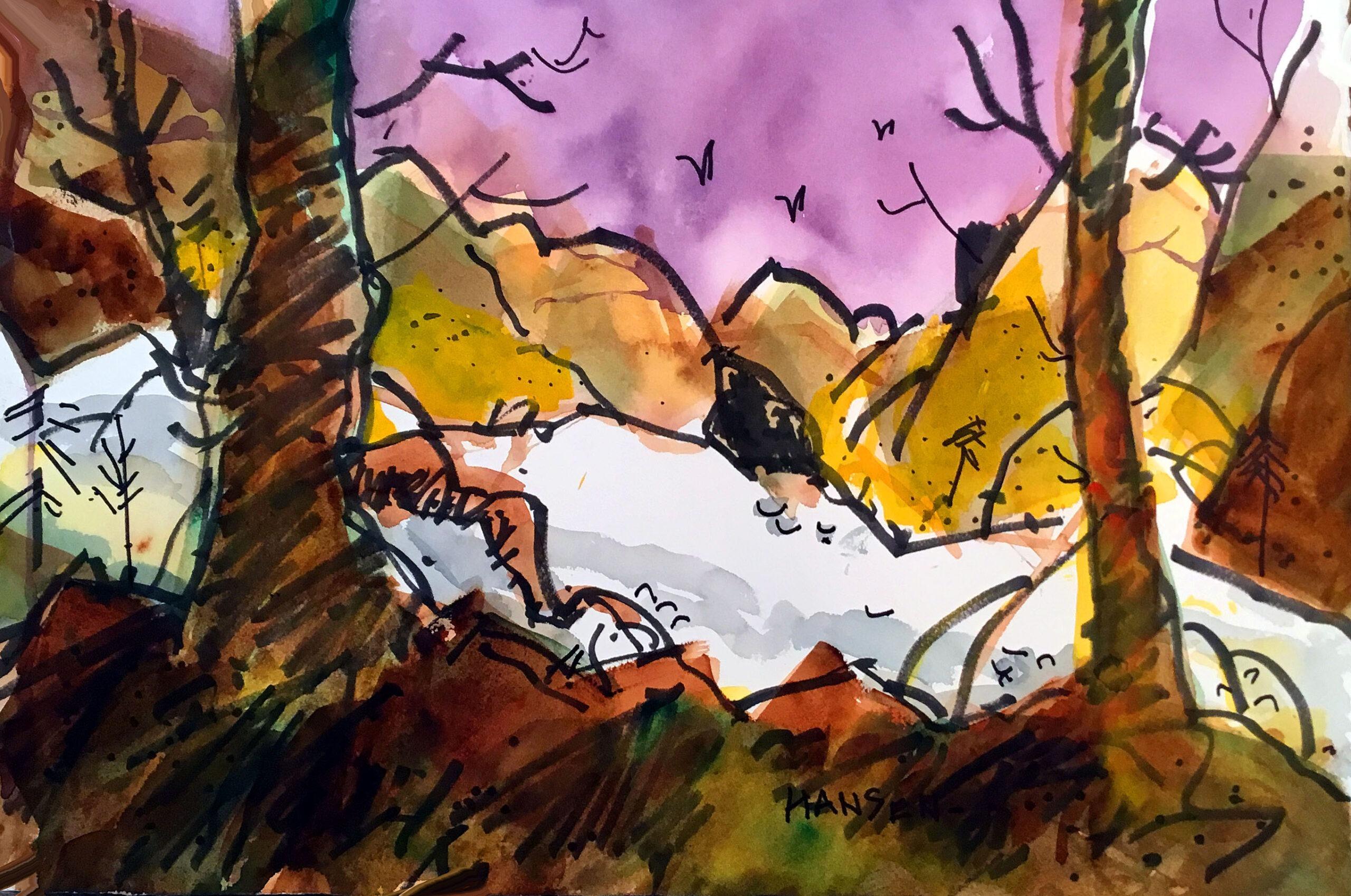 Woody Hansen Watercolor, 15x22, Parkway Winter