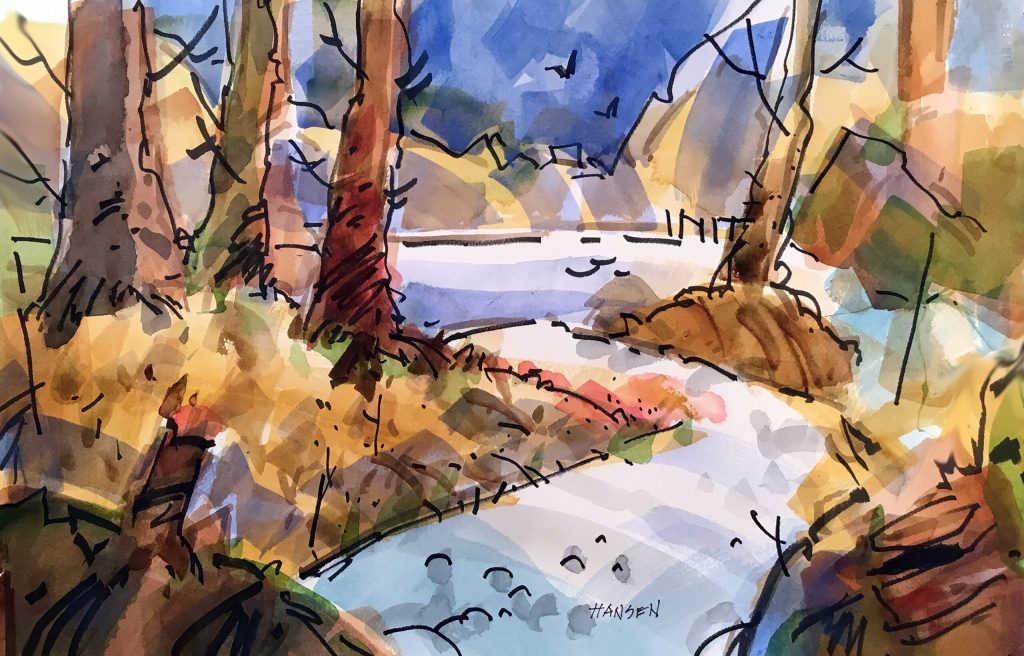 Parkway trail, 15 x 22, watercolor by Woody Hansen