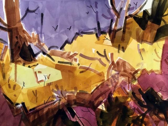 Woody Hansen Watercolor, 15x22, Primary Landscape