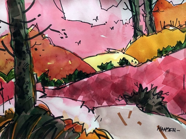 Woody Hansen Watercolor, 15x22, Shasta Treat