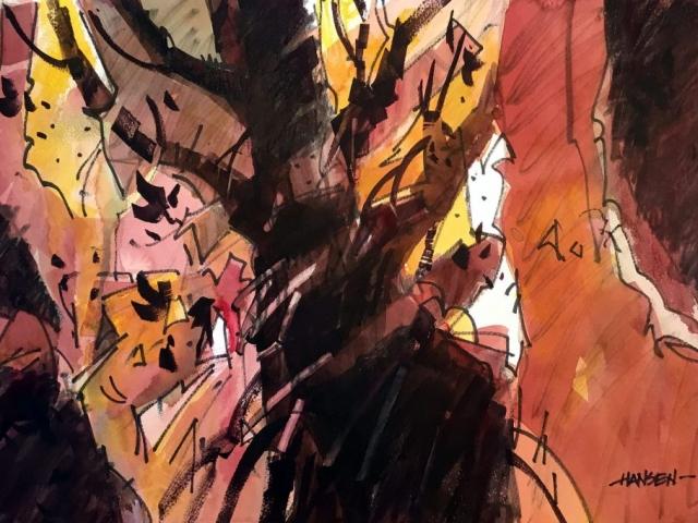 Woody Hansen Watercolor, 15x22, Transformative Tree