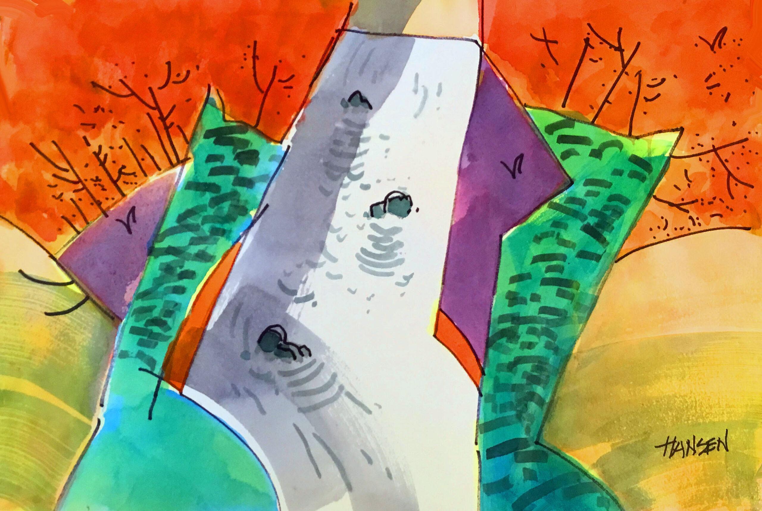 Woody Hansen Watercolor, 15x22, Different Perspective