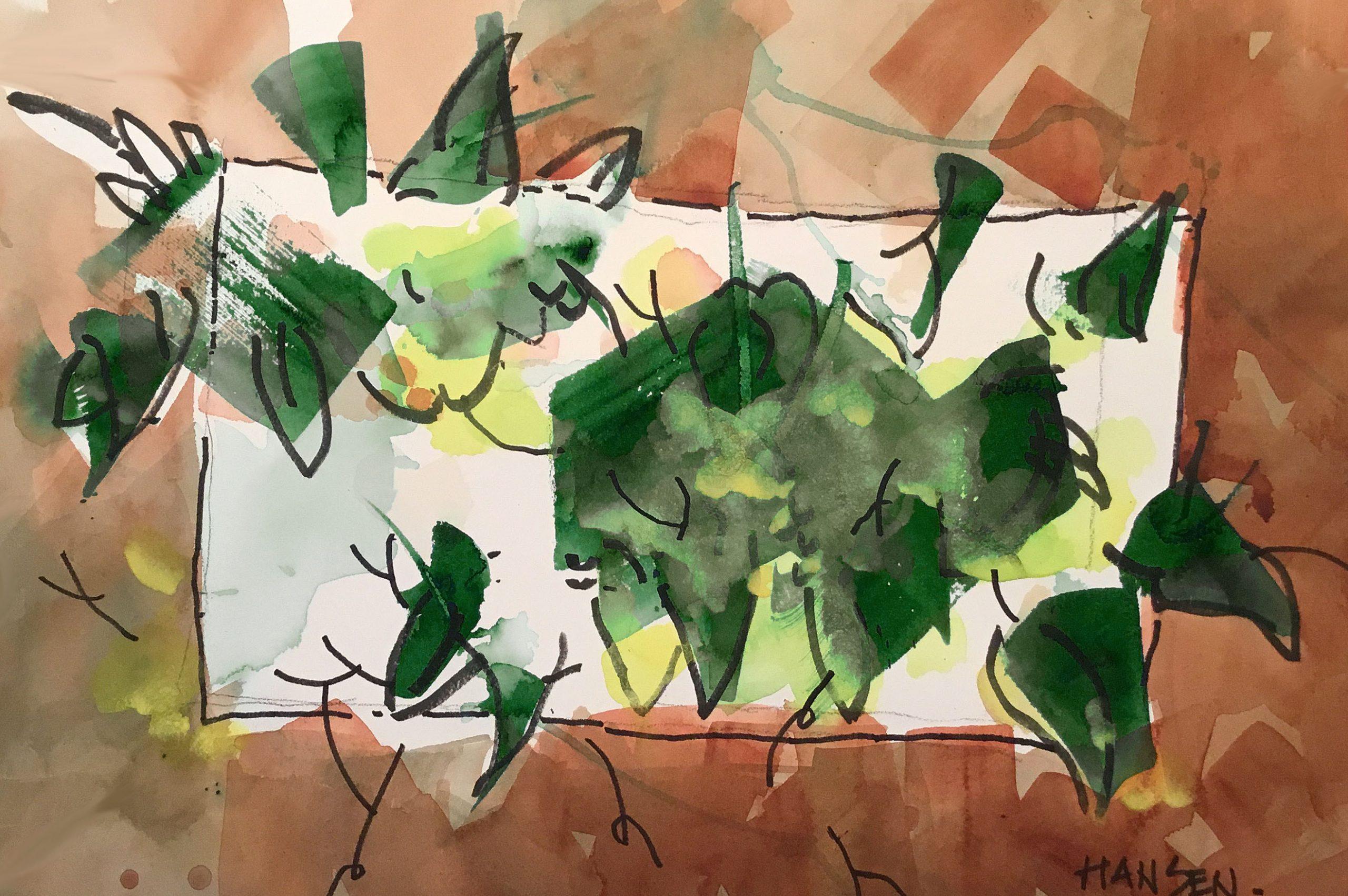 Anno Greeno, 15x22 Original Watercolor by Woody Hansen